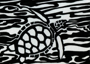 top view of sea turtle art