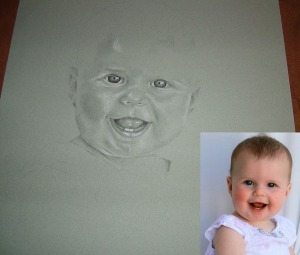 black and white baby girl drawing with reference