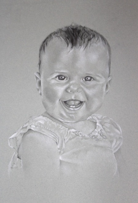baby girl black and white drawing
