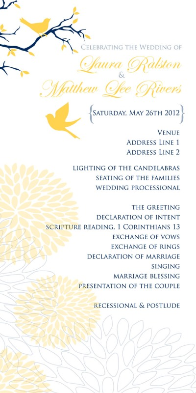 mock up wedding program