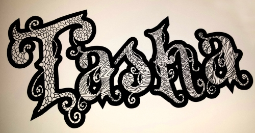 """Tasha"" Custom Name Coloring Page Design Final Black & White ©2015 alecia goodman to present"