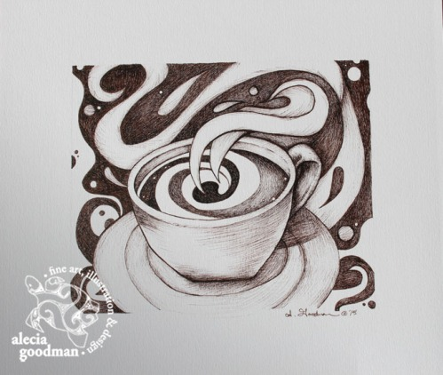 coffee ink drawing