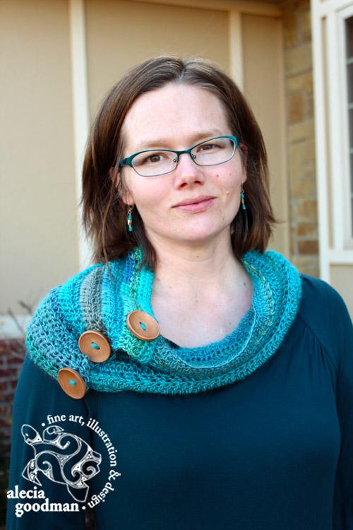 crochet buttoned cowl