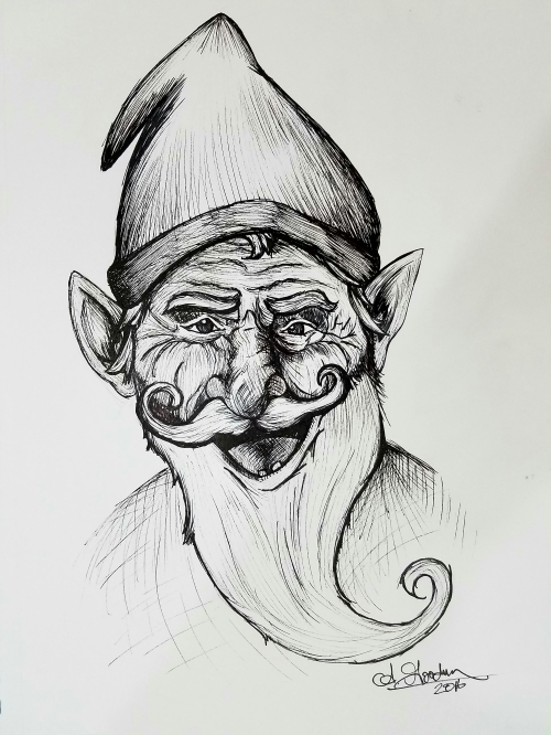 Gnome ink drawing goofy