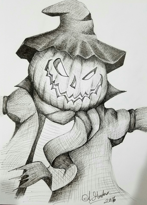 Ink drawing scarecrow