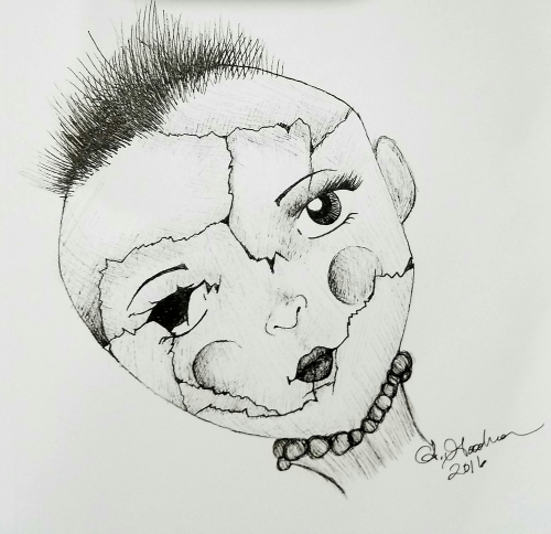 Ink drawing doll