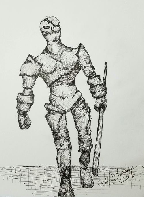 Ink drawing Golem