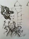 Ink drawing woman bride of frankenstein monster