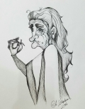 Ink drawing old woman hag