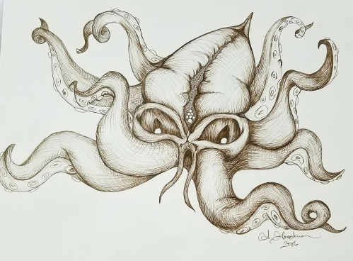 Ink drawing Kraken sea creature