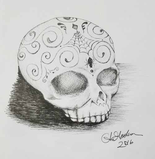 Ink drawing skull