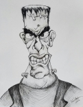 Ink drawing Frankenstein's Monster