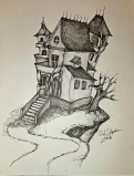 Ink drawing haunted house