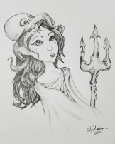Ink drawing Sea Witch