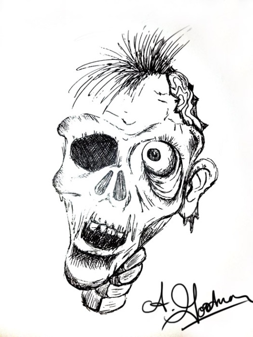inktober zombie drawing