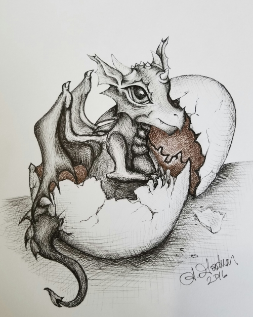 Ink drawing dragon