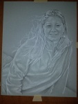 Pencil and white charcoal drawing girl