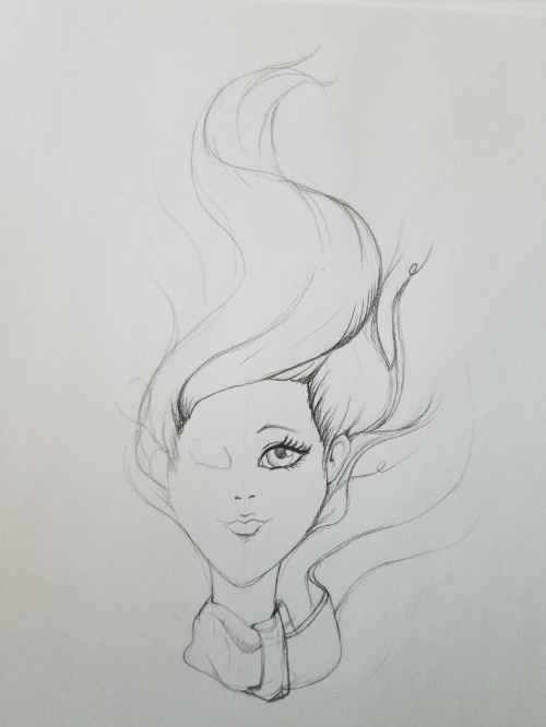 Girl sketch breezy hair