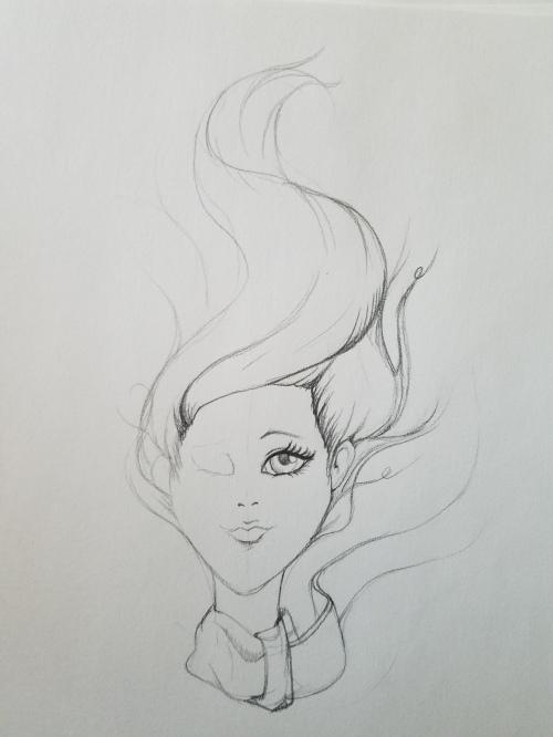 Girl sketch breezy hair