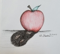 Inktober Day 3 Poison ink drawing Apple