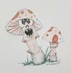 Inktober Day 3 Poison ink drawing Mushrooms