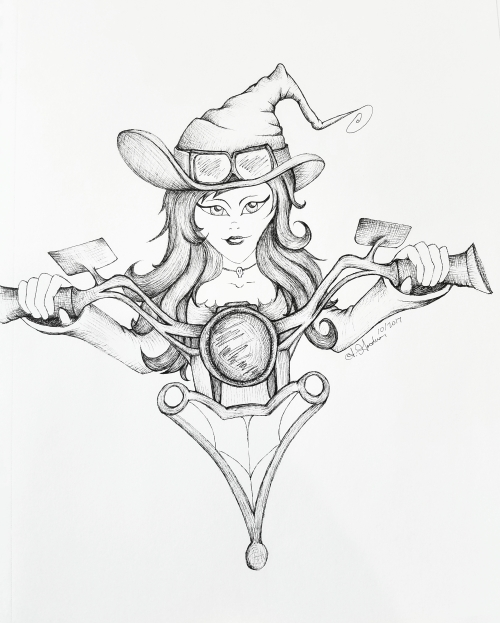Biker Witch ink drawing Inktober Day 4