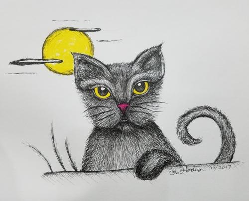 Folklore cat ink drawing Inktober
