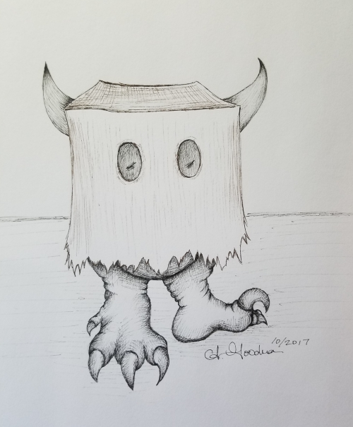 Inktober drawing day 7 shy monster