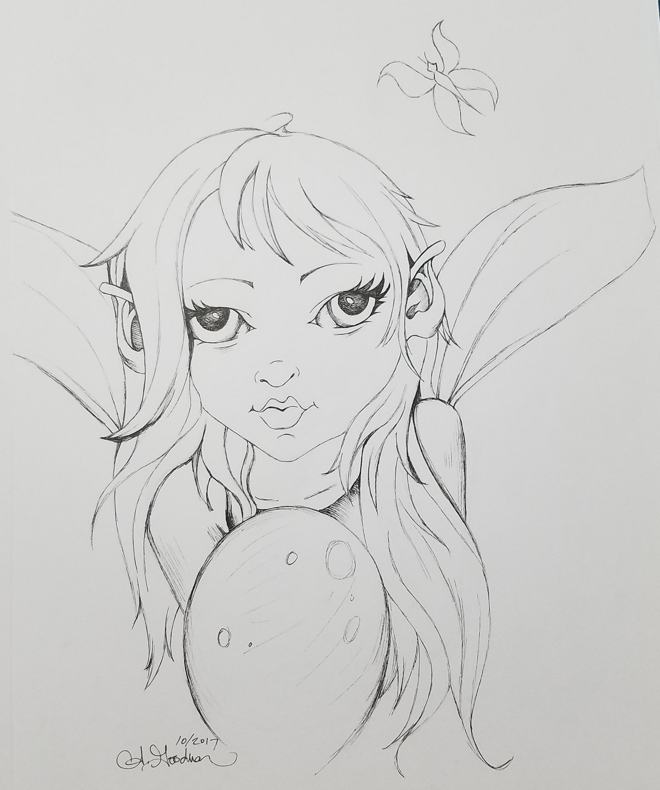 Inktober Day 11 Fairy ink drawing