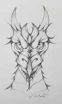 Dragon ink drawing Inktober Day 14 by alecia goodman