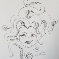 Inktober Day 15 haunted hair mysterious ink drawing tentacle hair alecia goodman