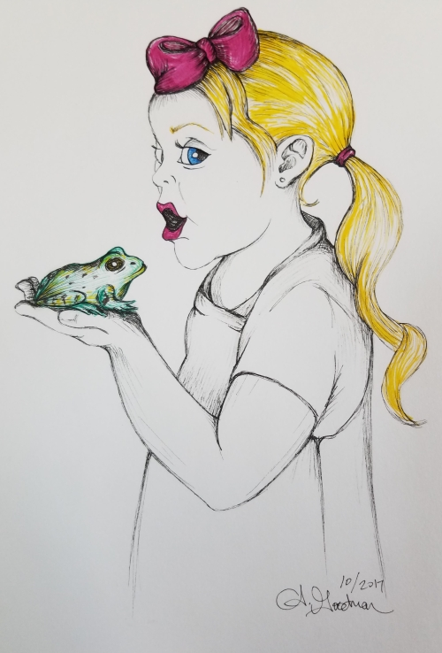 Inktober Day 17 Toadsday girl just kissed a toad alecia goodman color ink drawing