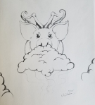 Inktober Day 19 Cloud pig flying ink drawing by alecia goodman
