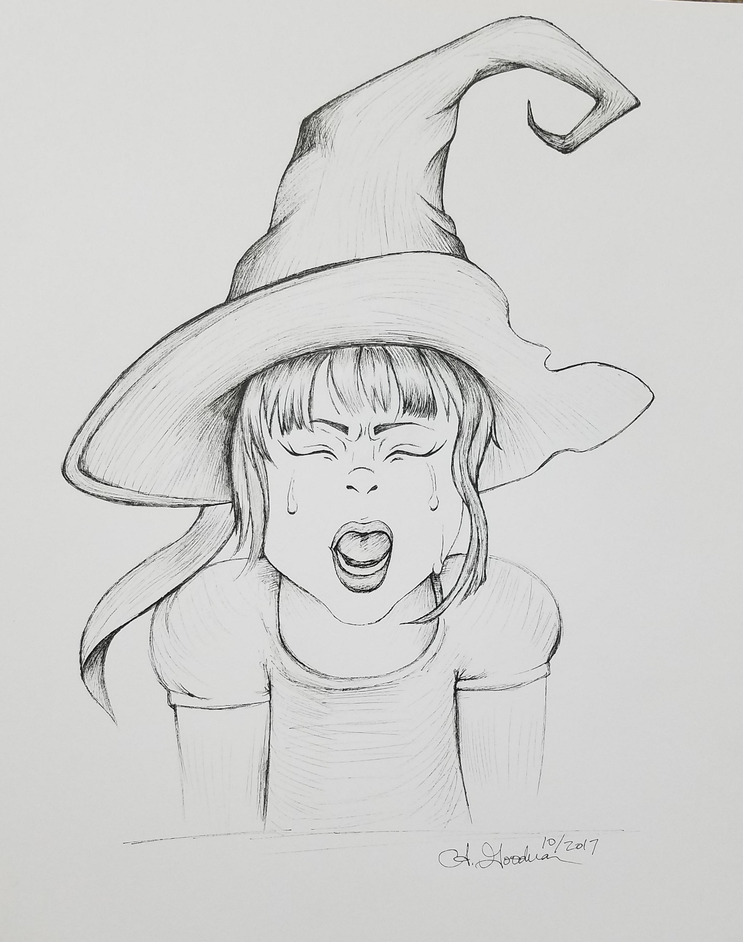 Inktober Day 21 Furious ink drawing 2017 alecia goodman