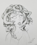 Inktober Day 24 Blind 2017 by alecia goodman ink drawing Medusa