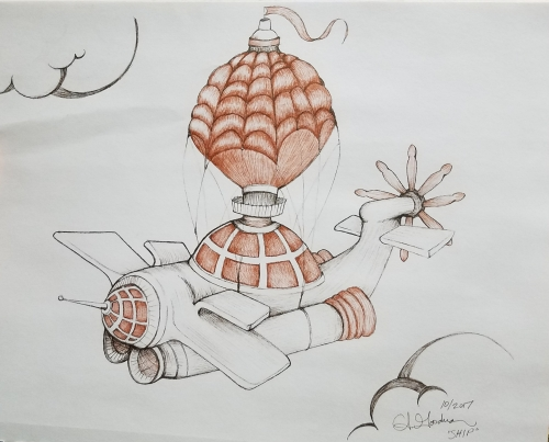 Inktober Day 25 Ship ink drawing 2017 by alecia goodman