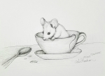 Inktober Day 26 Squeak mouse in teacup ink drawing2017 by alecia goodman