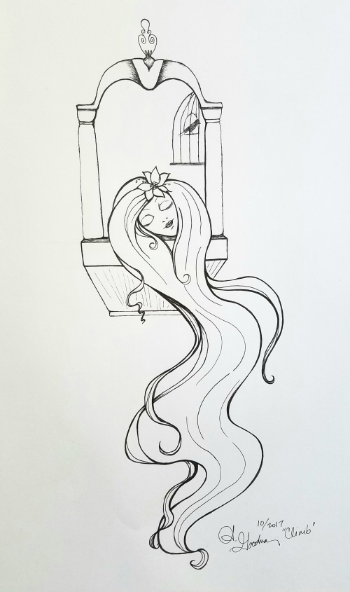 Inktober Day 27 Climb Rapunzel ink drawing 2017 by alecia goodman