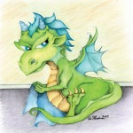 baby toddler dragon my blanket drawing submission to Tiny Dragon Art Book alecia goodman