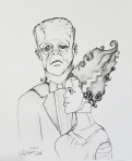 Inktober Day 29 United Monster love ink drawing Frankenstein's monster and bride 2017 by alecia goodman