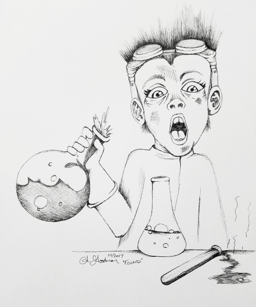 Inktober Day 30 Found Mad science ink drawing 2017 by alecia goodman