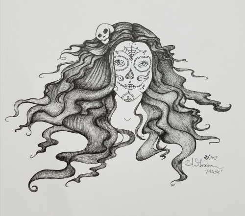Inktober Day 31 Mask, sugar skull ink drawing 2017 by alecia goodman