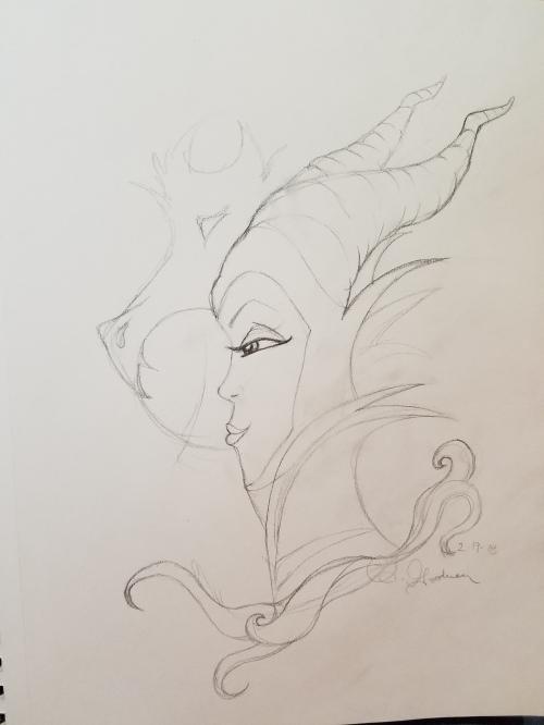 Dark fairy sketch by Alecia Goodman