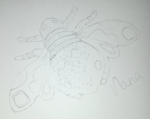 Bee Brooch Sketch pencil by Alecia Goodman