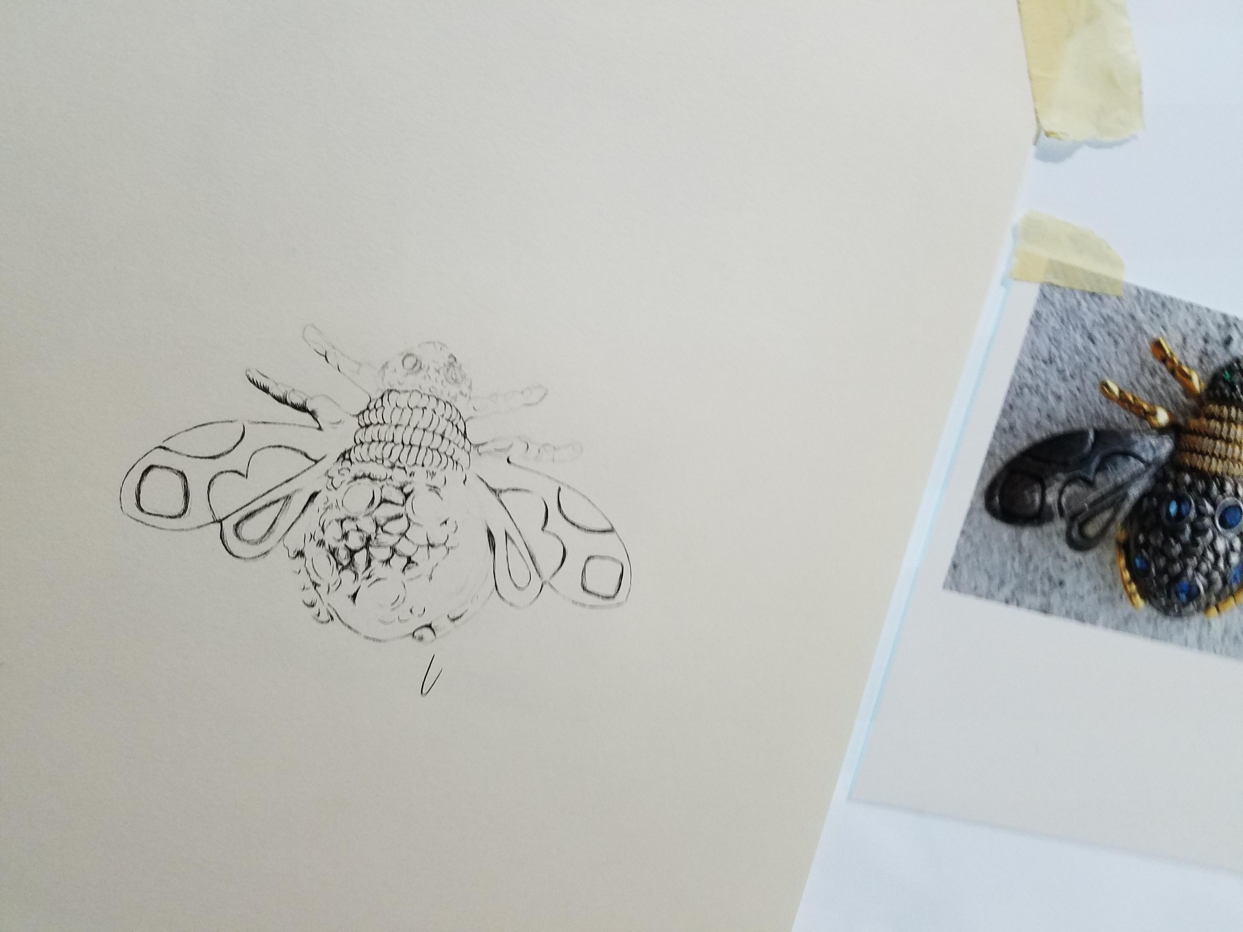 Queen Bee Brooch Ink Work in progress ©2018 alecia goodman to present