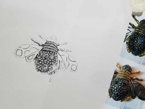 Queen Bee Brooch Ink drawing WIP ©2018 alecia goodman to present