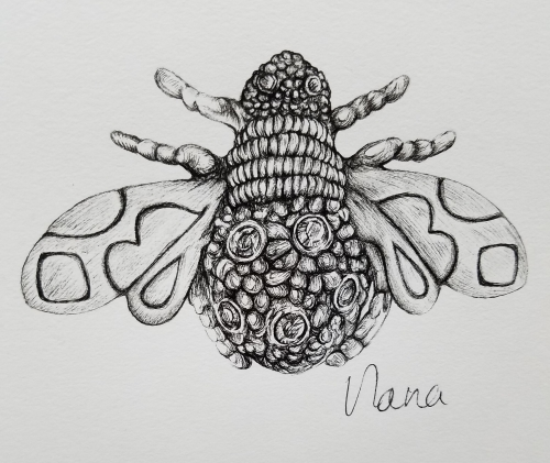 Queen Bee Brooch ink drawing copyright 2018 alecia goodman to present