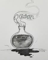 Inktober Day 1 Poison ink drawing by alecia goodman