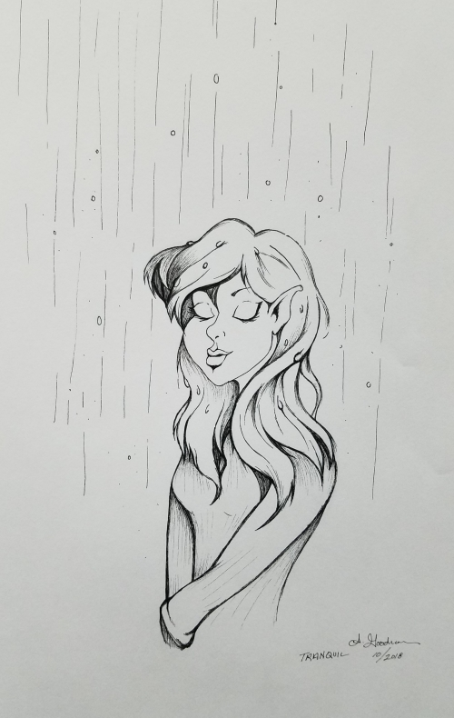 Female elf in rain ink drawing 2018 inktober day 2 by Alecia Goodman