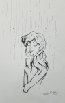 Female elf in rain ink drawing 2018 inktober day 2 by Alecia Goodman